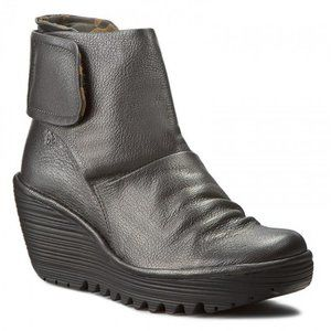 Fly London Yegi Leather Wedge Ankle Boots Sz 40